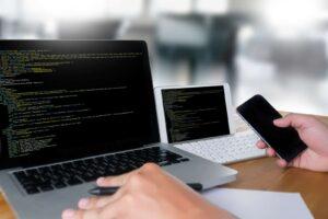 developer Team Working Laptop Computer Mobile Application Software
